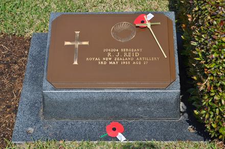 Gravestone at Busan Cemetery for 206204 Reginald Reid. No Known Copyright.
