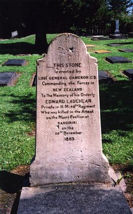 Head stone of Lieutenant General Cameron, Rangiriri / Lakes Ranch Maori Wars memorial. No Known Copyright.