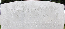 Close-up of headstone of SJB Foss s/n 10/338 at Dernacourt cemetery, France. No Known Copyright.