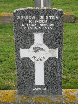 Headstone for Sister K Peek [MacGregor] s/n 22/209. Image provided by Sarndra Lees, June 22, 2014. Image has All Rights Reserved.