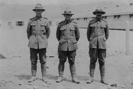 Group, WWI, 3 kiwi soldiers standing in their camp (left - right) Alfred Elwin Russell, Louis Victor Russell, William Henry Russell. No Known Copyright.