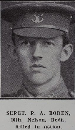 Portrait, Sergeant Richard Arthur Boden (7/171) from the Weekly News 1915. Kindly provided by Onward Project, Phil Beattie & Matt Pomeroy. No Known Copyright.