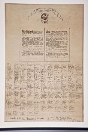 New Zealand. Army. 1st Maori Contingent. Scroll of the 1st New Zealand Maori Contingent, 1915. Auckland War Memorial Museum Library. MS-624. Cultural Permissions may apply.