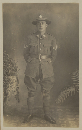 """Portrait and memorial card for: """" In Loving Memory of Corpl. Joseph Thomas Marshall, 50th Reinforcements, N.Z. E.F. Died in Trentham Military Hospital, on November 18th, 1918 Age 24 years. Interred in Kororie Cemetery on 19th November, 1918 With sincere gratitude for your kind sympathy. From Mr & Mrs Jacob Marshall"""" Mickle, A. M. R. (n.d.)Micklealbum. Auckland War Memorial Museum - Tamaki Paenga Hira. PH-ALB-561. p.113. No known copyright restrictions."""