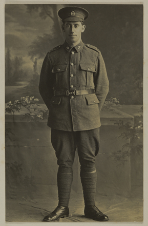 Portrait Rifleman George F. [Lepper] (26864) A Company, 3rd Platoon 17th reinforcement Left N.Z (Photographer Herman Schmidt). p.74. Mickle, A. M. R. (n.d.)Micklealbum. Auckland War Memorial Museum - Tamaki Paenga Hira. PH-ALB-561. No known copyright restrictions.