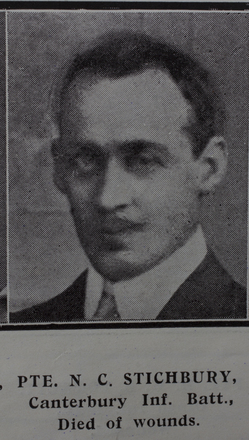 Portrait, Private Nicholas Colin Stichbury (6/729) from the Weekly News 1915. Kindly provided by Onward Project, Phil Beattie & Matt Pomeroy. No known copyright restrictions.
