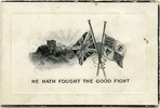 """""""He hath fought the good fight"""". WWI memorial card for Albert Henry Lugg (10/3637). Image provided by family.  Image has no known copyright restrictions."""