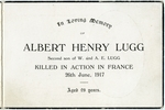 WWI memorial card for Albert Henry Lugg (10/3637). In memory of Albert Henry Lugg Second son of W. and A.E. Lugg Killed in Action in France 26th June 1917 Aged 29 years. Image provided by family.  Image has no known copyright restrictions.