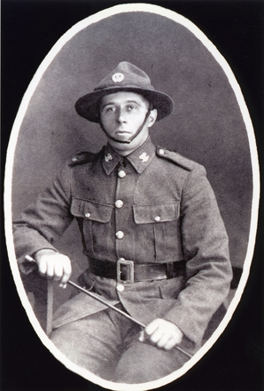 3/4 portrait of Albert Henry Lugg (10/3637). Detail of WWI memorial card. Image provided by family.  Image has no known copyright restrictions.
