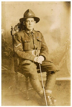 Portrait of Private John Coughey in WWI uniform. Image courtesty of Coughey family. Image has no known copyright restrictions.