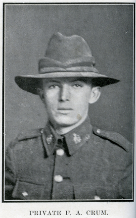 Portrait of F. A. Crum. Auckland Grammar School chronicle. 1917, v.5, n.1. Image has no known copyright restrictions.