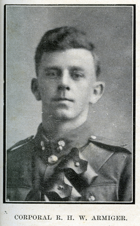 Portrait of R. H. W. Armiger. Auckland Grammar School chronicle. 1918, v.6, n.1. Image has no known copyright restrictions.