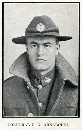 Portrait of P. G. Arnaboldi. Auckland Grammar School chronicle. 1918, v.6, n.1. Image has no known copyright restrictions.