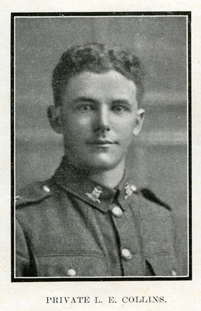 Portrait of L. E. Collins. Auckland Grammar School chronicle. 1918, v.6, n.1. Image has no known copyright restrictions.