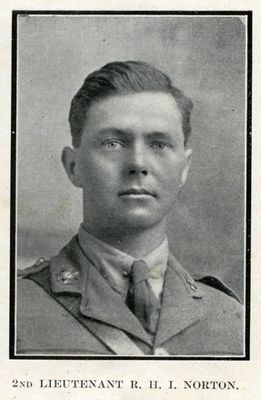 Portrait of R. H. I. Norton. Auckland Grammar School chronicle. 1918, v.6, n.1. Image has no known copyright restrictions.