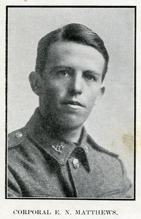 Portrait of E. N. Matthews. Auckland Grammar School chronicle. 1918, v.6, n.2. Image has no known copyright restrictions.