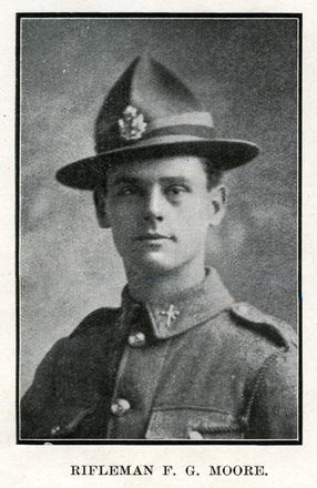 Portrait of F. G. Moore. Auckland Grammar School chronicle. 1918, v.6, n.2. Image has no known copyright restrictions.