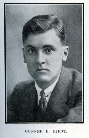 Portrait of B. Hirst. Auckland Grammar School chronicle. 1918, v.7, n.1. Image has no known copyright restrictions.