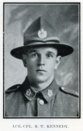 Portrait of R. T. Kennedy. Auckland Grammar School chronicle. 1918, v.7, n.1. Image has no known copyright restrictions.