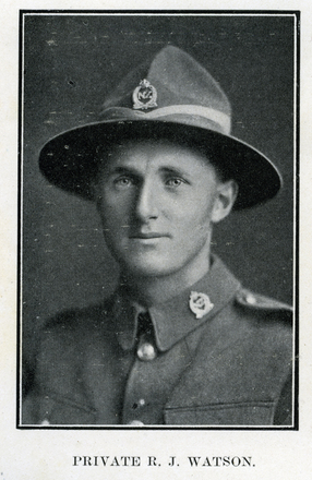 Portrait of R. J. Watson. Auckland Grammar School chronicle. 1918, v.7, n.1. Image has no known copyright restrictions.