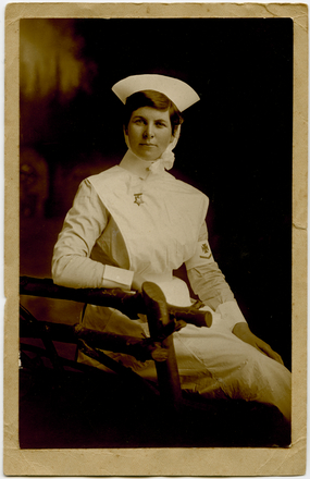 Portrait of Charlotte Le Gallais in nurses uniform. Le Gallais family. Auckland War Memorial Museum Library. PH-1995-2-3. No known copyright restrictions.