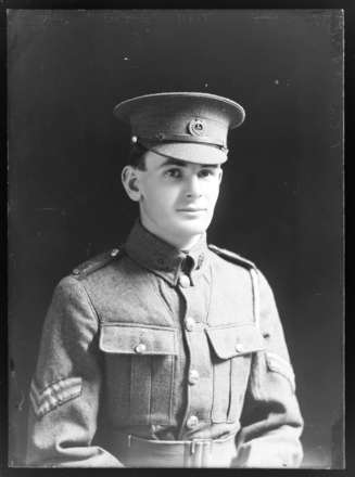 Corporal Frank Barltrop (1894 - 1916)  (Serial No. 6/2062). Nelson Provincial Museum, Tyree Studio Collection: 84427. Image has no known copyright restrictions.
