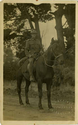 Portrait of Ernest Guy Attwood (40759) in full uniform mounted on Horse c.WWI. H.D. Bettger Photographer Rangiora, N.Z. Image kindly provided by Attwood family. Image has no known copyright restrictions.