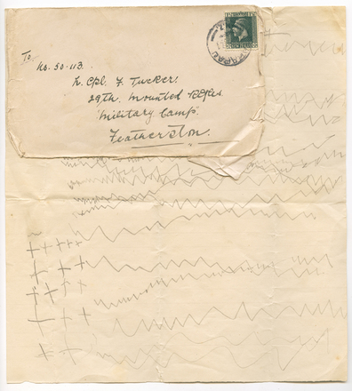 Letter sent to Lance Corporal Tucker from his daughter. Reville, Natalie. Papers relating to World War I soldiers George Edward Mudgway and Frederick Tucker. Auckland War Memorial Museum Library. MS-2005-4. Items 10 and 11. Image has no known copyright restrictions.
