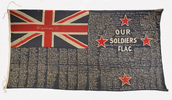 Our Soldiers Flag, New Zealand Ensign fundraising flag (1914-1918). Auckland War Memorial Museum (Ref: W0414, 1929.332, F016). Soldier's records were identified by Margaret Nash of the Panmure Branch of NZSG. This image has no known copyright restrictions.