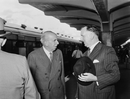 Unknown photographer. [Sir Harold Gillies & Mr. P. M. Holland] (Auckland Star, 22 February 1956).Auckland War Memorial Museum - Tamaki Paenga Hira - PH-CNEG-S554. Auckland Museum has yet to establish the copyright status of this image; restrictions may apply.