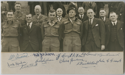Boyer, Charles Percy Samuel (1945). V.C. Recipients of the First and Second World Wars. Group portrait of eleven of New Zealand Victoria Cross recipients from the First and Second World War on the steps of Parliament in Wellington. Front row left to right: John Hinton, Keith Elliott, Charles Hazlitt Upham, Alfred Clive Hulme, Samuel Frickleton, John Gildroy Grant. Back row, left to right: Leslie Wilton Andrew, Reginald Stanley Judson, James D. Crichton, Henry (Harry) John Laurent, Cyril Royston Bassett. The photograph is mounted on card and has been autographed by the men below the photograph in order of as they are placed. Auckland War Memorial Museum - Tamaki Paenga Hira. PH-1956-1. Permission to reproduce this image should be sought from Auckland War Memorial Museum and the copyright holder where applicable.