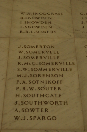 Auckland War Memorial Museum, World War 1 Hall of Memories Panel Snodgrass, W.A. - Spargo, W.J. (CC BY John Halpin 2010)