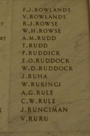 Auckland War Memorial Museum, World War 1 Hall of Memories Panel Rowlands, F.J. - Ruru, V. (CC BY John Halpin 2010)