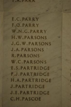 Auckland War Memorial Museum, World War 1 Hall of Memories Panel Parry, E.C. - Pascoe, C.H. (CC BY John Halpin 2010)