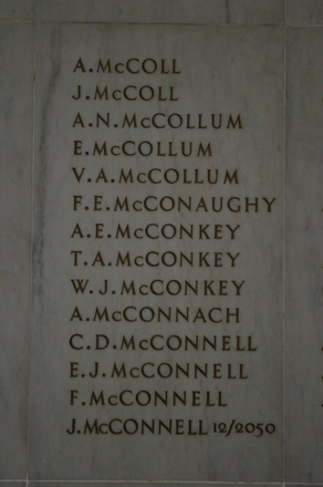 Auckland War Memorial Museum, World War 1 Hall of Memories Panel McColl, A. - McConnell, J. (photo J Halpin 2010)