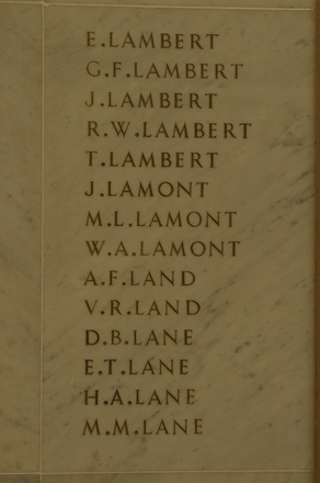Auckland War Memorial Museum, World War 1 Hall of Memories Panel Lambert, E. - Lane, M.M. (photo J Halpin 2010)