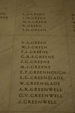 Auckland War Memorial Museum, World War 1 Hall of Memories Panel Green, L.A. - Greenwell, J. (photo J Halpin 2010)