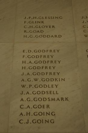 Auckland War Memorial Museum, World War 1 Hall of Memories Panel Glessing, J.P.H. - Going, C.J. (photo J Halpin 2010)