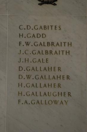Auckland War Memorial Museum, World War 1 Hall of Memories Panel Gabites, C.D. - Galloway, F.A. (photo J Halpin 2010)