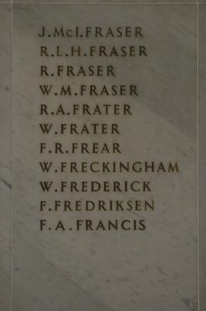 Auckland War Memorial Museum, World War 1 Hall of Memories Panel Fraser, J.McI. - Francis, F.A. (photo J Halpin 2010)