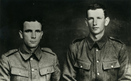 Studio portrait of Percival Argyle (s/n 11/1400A) [left] and Leonard Charles Argyle (s/n 10/1399A) [right] taken in 1914 before embarking for overseas. Image kindly provided by Rachael Membery and Linda Hodge. Image has no known copyright restrictions.
