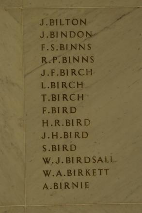 Auckland War Memorial Museum, World War 1 Hall of Memories Panel Bilton J. - Birnie A.  (photo J Halpin 2010) - T. Birch could either be Tau Birch (20712) or Thomas Birch (4/684) - Image has no known copyright restriction.