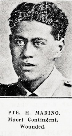 Private H. Marino, Maori Contingent, wounded. Taken from the supplement to the Auckland Weekly News 21 October 1915 p039. Sir George Grey Special Collections, Auckland Libraries, AWNS-19151021-39-44. Image has no known copyright restrictions.