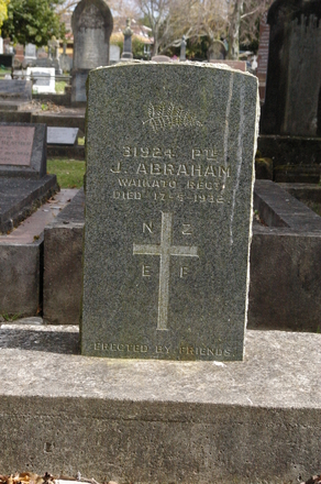 Headstone of J. Abraham. Pukekohe Cemetery, Wellington Street, Pukekohe, New Zealand. Image provided by John Halpin (2015). Image has no known copyright restrictions.