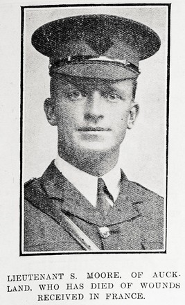 LIEUTENANT S. MOORE. OF AUCKLAND, WHO HAS DIED OF WOUNDS RECEIVED IN FRANCE. Taken from the supplement to the Auckland Weekly News 27 July 1916 p039. Sir George Grey Special Collections, Auckland Libraries, AWNS-19160727-39-1. Image has no known copyright restrictions.