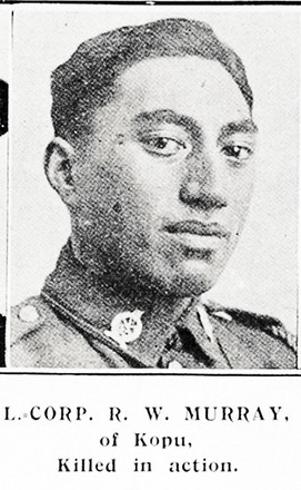 L. CORP. R. W. MURRAY, of Kopu, killed in action. Taken from the supplement to the Auckland Weekly News 7 March 1918 p041. Sir George Grey Special Collections, Auckland Libraries, AWNS-19180307-41-11. Image has no known copyright restrictions.