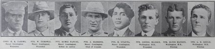 New Zealand's Roll of Honour: Non-commissioned officers and men, killed, wounded, and missing in the world struggle for freedom. Roll of honour for the First World War showing from left to right; Corporal H K Tahiwi (Maori Contingent, wounded), Private W Tuhiwai (Maori Contingent, wounded), Private Kurei Papuni (Maori Contingent, killed in action), Private J Harding (Maori Contingent, died of wounds), Private R Utauta (Maori Contingent, wounded), Trooper Lionel Hansen (Wellington Mounted Rifles, wounded), Trooper Elvin Hansen, (Wellington Mounted Rifles, missing), Trooper A R Gould (Wellington Mounted Rifles, missing). Taken from the supplement to the Auckland Weekly News 28 October 1915, p40. Sir George Grey Special Collections, Auckland Libraries, AWNS-19151028-40-4. Image has no known copyright restrictions.