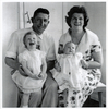 Family portrait taken in late 1963 with William Arthur Johnson holding Rhona Johnson and Jessie McGowna Richardson Johnson holding Elean Johnson. Image provided by Peter Nightingale. Image has no known copyright restrictions.