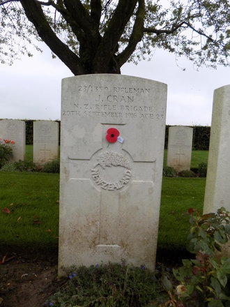 Gravestone of James Cran (s/n 23/1359). Caterpillar Valley Cemetery, Longueval, Somme, France. Image kindly provided by Paul Hickford. Image may be subject to copyright.