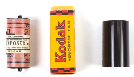 camera film box, with exposed film and roll negative -Kodak Verichrome (film and negative now with pictorial department)